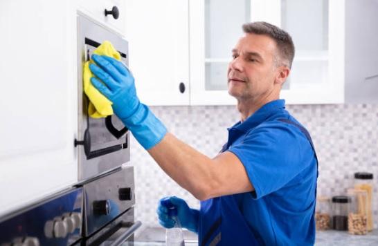 limpieza del vidrio del horno