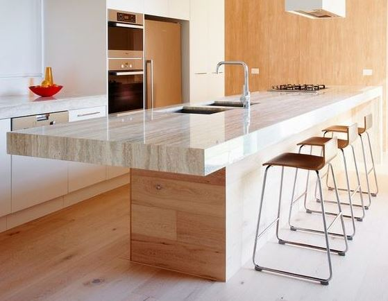 marmol travertino encimera cocina
