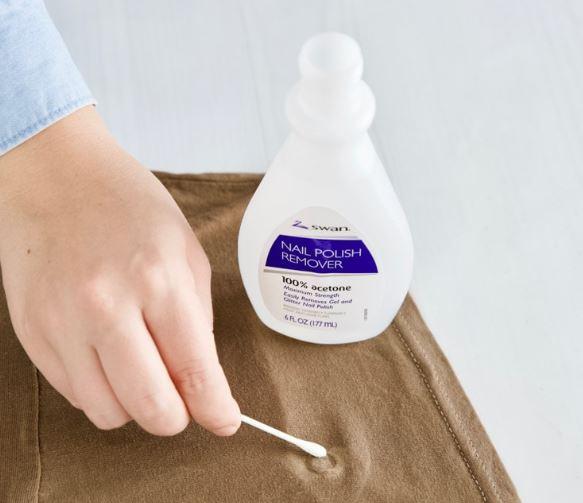quitar pegamento ropa con acetona quitaesmalte
