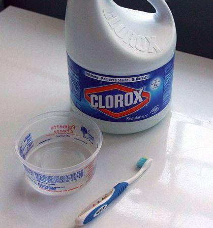 limpiar cepillo de dientes con lejia