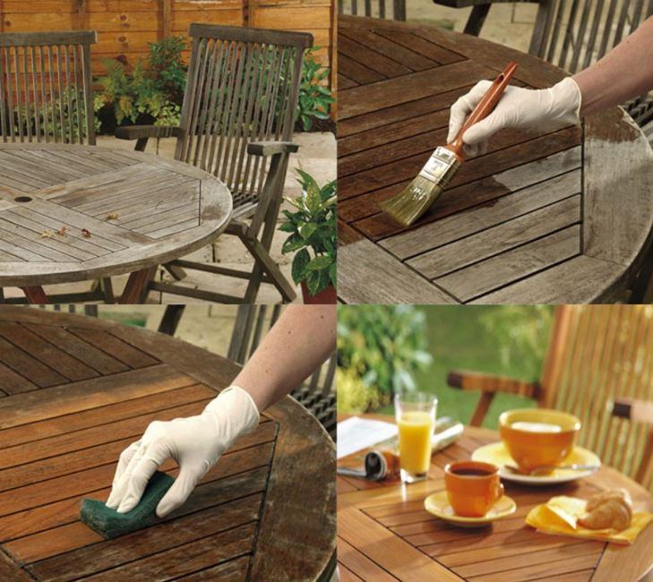 limpiar muebles de madera del jardin