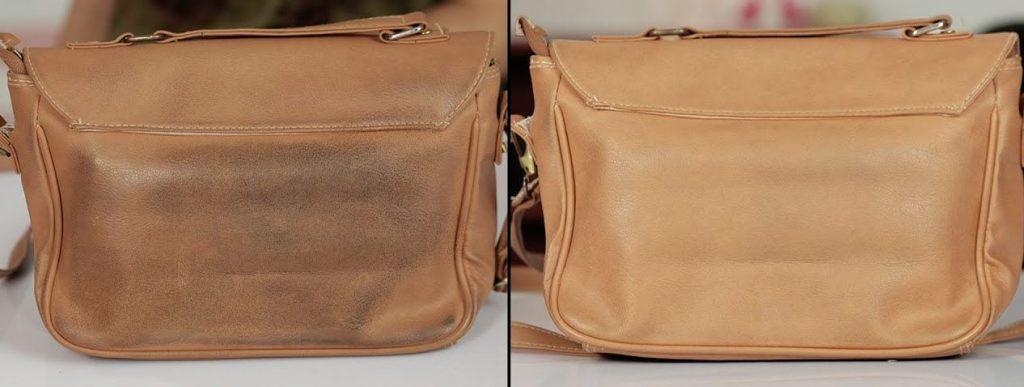 limpiar bolso de cuero antes y despues