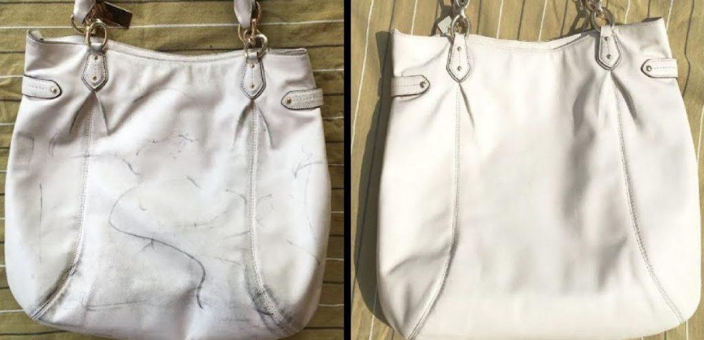 limpieza bolso de piel blanco