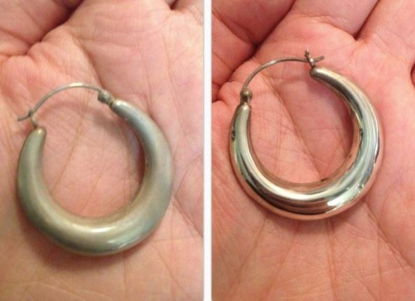 limpiar pendientes de plata antes y despues