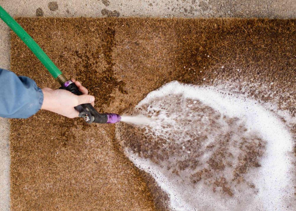 limpiar felpudo de coco facil